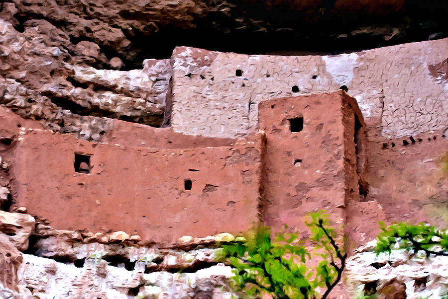 Montezuma Castle Painting - Montezuma Castle  by Bob and Nadine Johnston