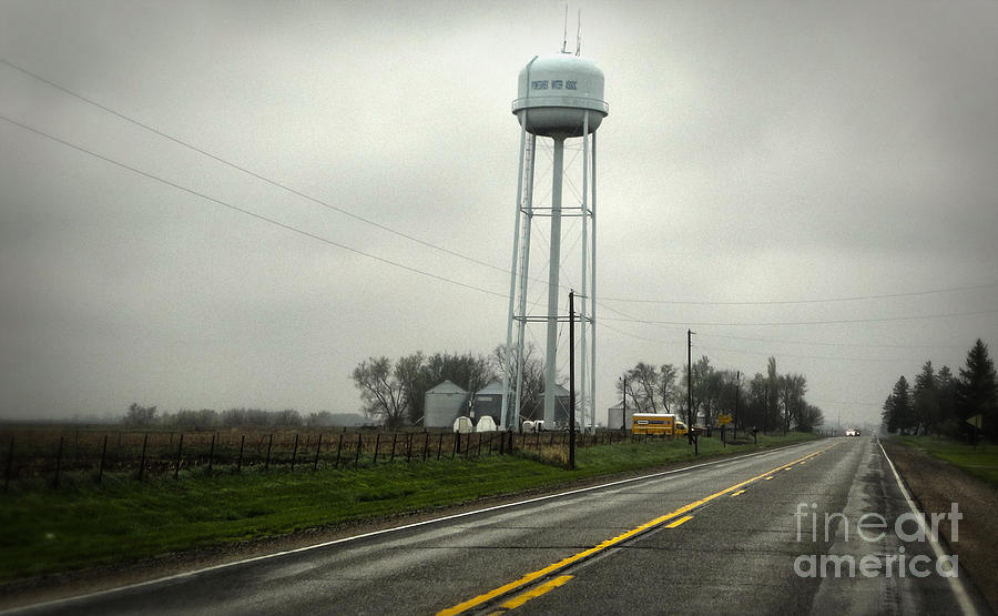 Old Brick Building Photograph - Montezuma Iowa Water Tower by Gregory Dyer