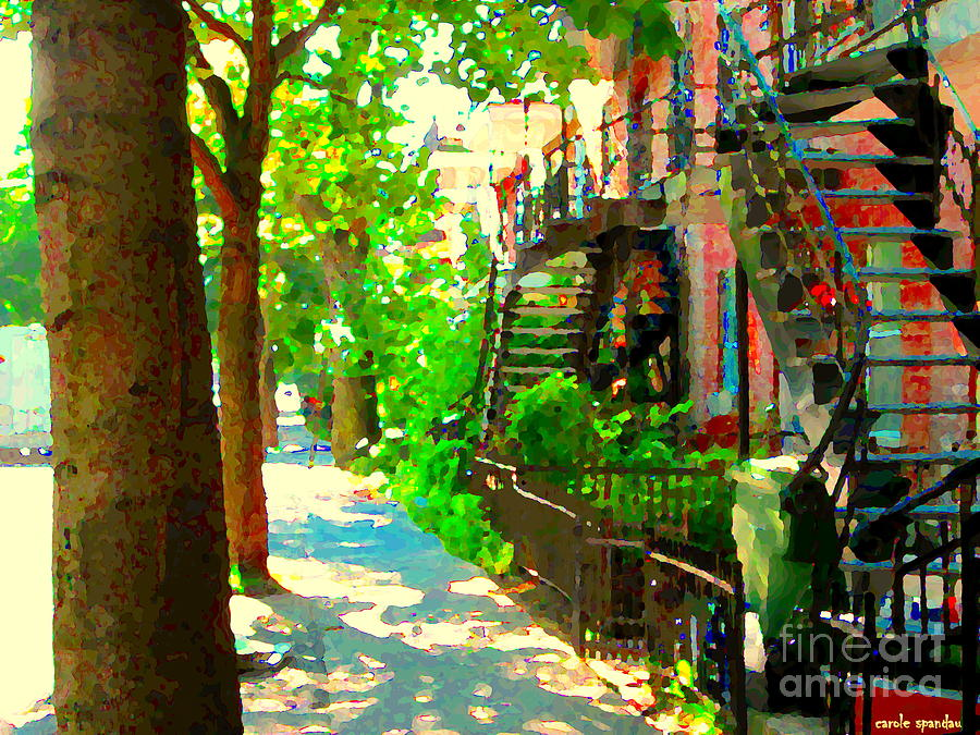 Montreal Art Colorful Winding Staircase Scenes Tree Lined Streets Of Verdun Art By Carole Spandau Painting  - Montreal Art Colorful Winding Staircase Scenes Tree Lined Streets Of Verdun Art By Carole Spandau Fine Art Print