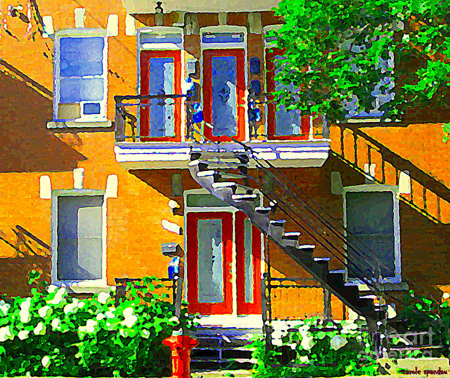 Montreal Art Seeing Red Verdun Wooden Doors And Fire Hydrant Triplex City Scene Carole Spandau Painting  - Montreal Art Seeing Red Verdun Wooden Doors And Fire Hydrant Triplex City Scene Carole Spandau Fine Art Print
