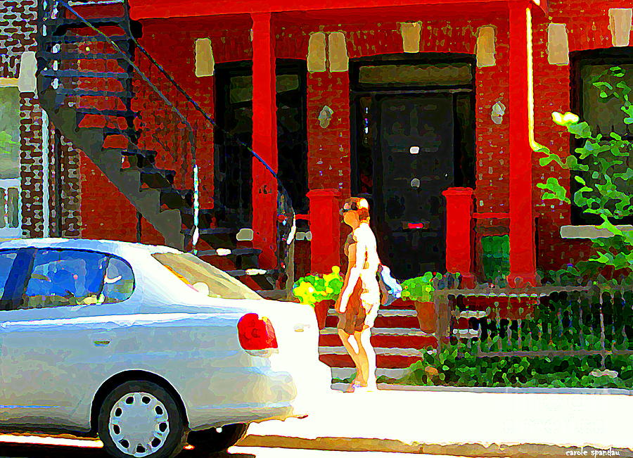 Montreal Art Summer Stroll On A Sunny Morning Colorful Street Verdun City Scene Carole Spandau Painting  - Montreal Art Summer Stroll On A Sunny Morning Colorful Street Verdun City Scene Carole Spandau Fine Art Print