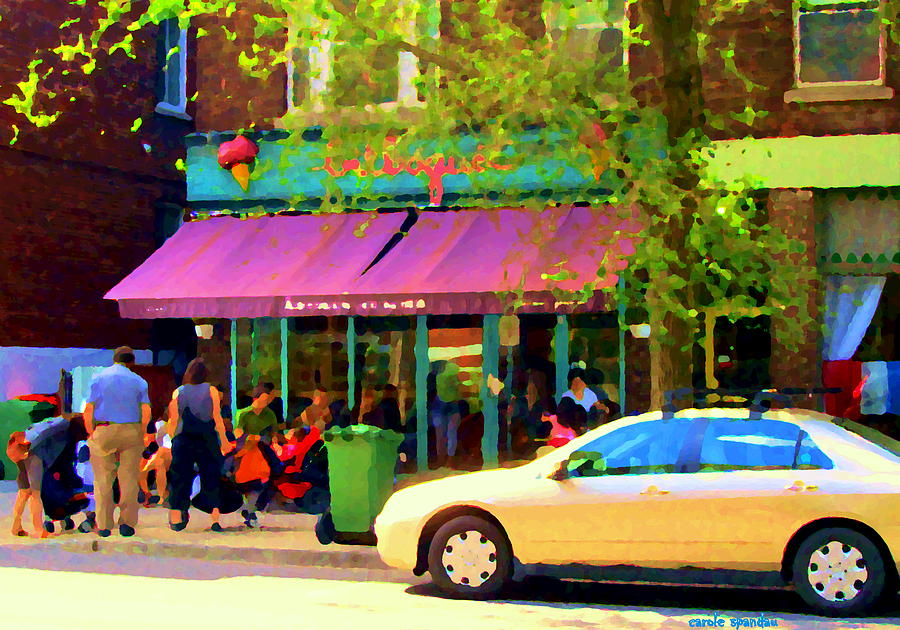 Montreal Cafe Scenes Beautiful Bilboquet On Bernard Creme Glacee Summer City Scene Carole Spandau  Painting  - Montreal Cafe Scenes Beautiful Bilboquet On Bernard Creme Glacee Summer City Scene Carole Spandau  Fine Art Print