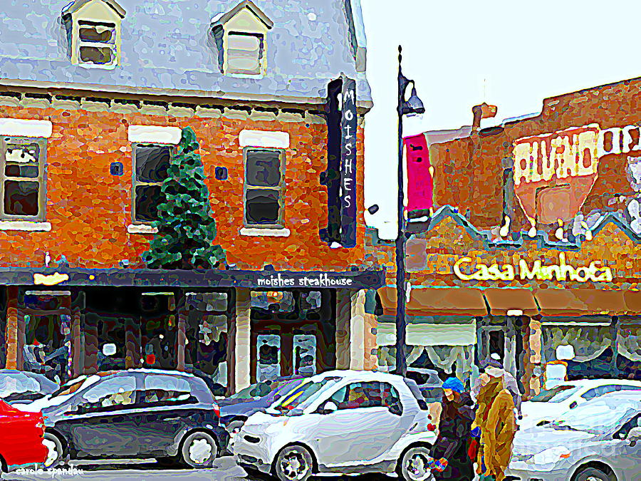 Moishes Steakhouse Restaurant Painting - Montreal Memories Moishes Famous Steakhouse Restaurant On The Main Busy Winter Scene Carole Spandau by Carole Spandau