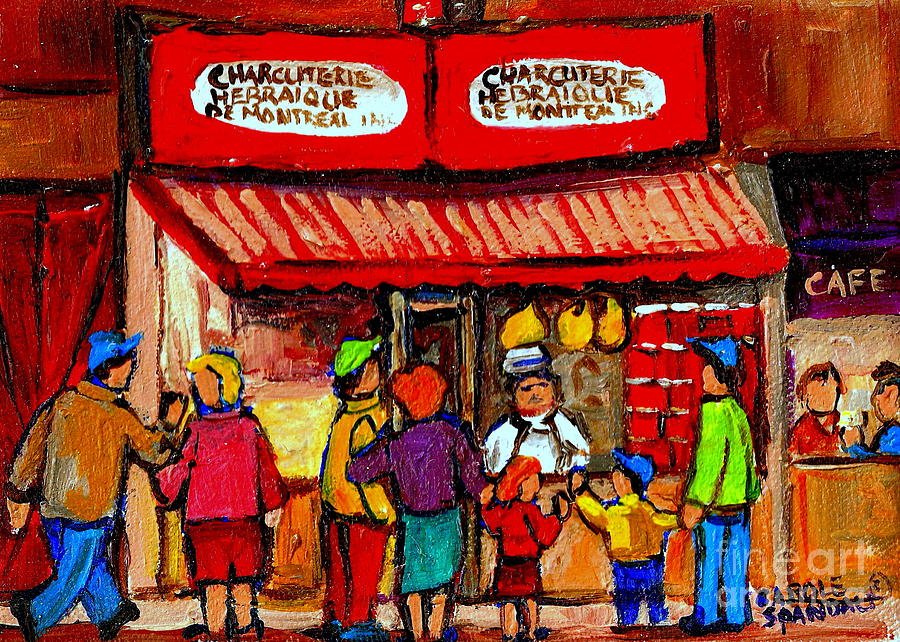 Schwartzs Delicatessan Painting - Montreal Memories Schwartzs Smoked Meat Nostalgic Vintage Scenes Heritage Landmark Classic Art by Carole Spandau