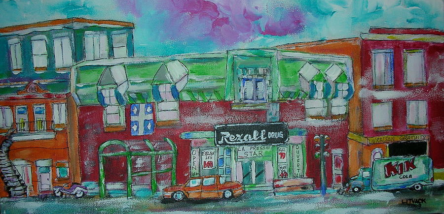 Litvack Painting - Montreal Pharmacy by Michael Litvack