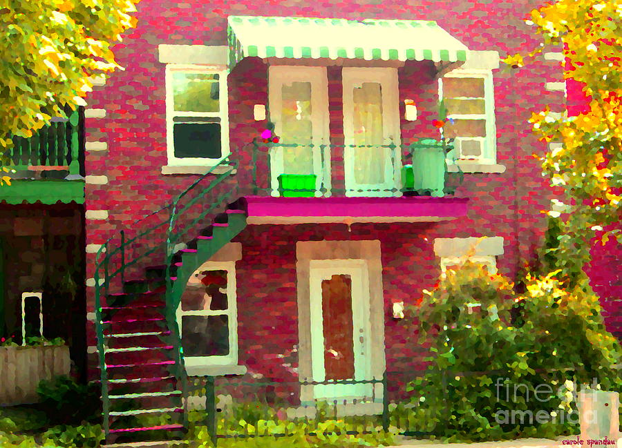 Montreal Stairs Painted Brick House Winding Staircase And Summer Awning City Scenes Carole Spandau Painting  - Montreal Stairs Painted Brick House Winding Staircase And Summer Awning City Scenes Carole Spandau Fine Art Print
