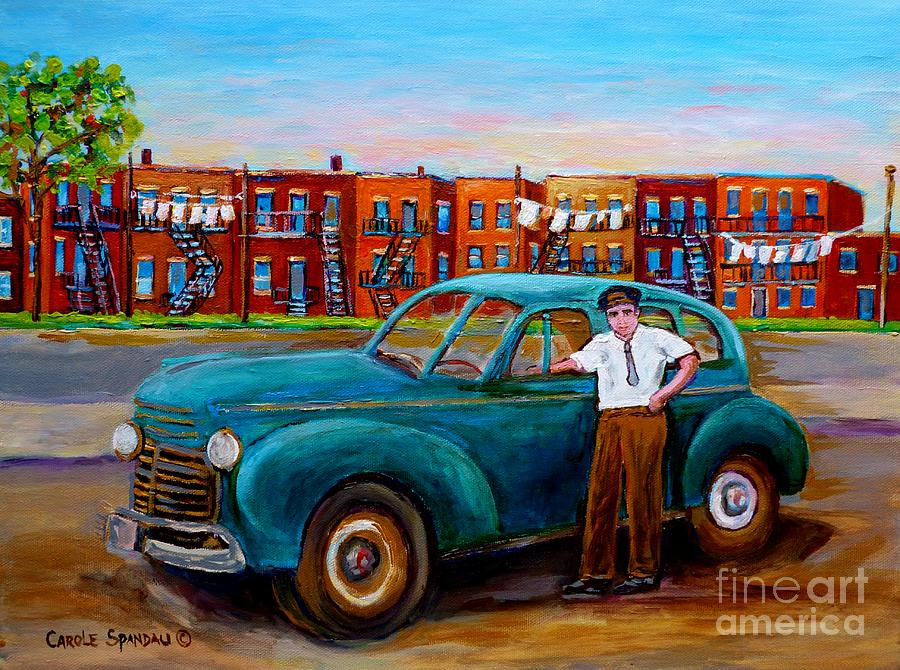 Montreal Taxi Driver 1940 Cab Vintage Car Montreal Memories Row Houses City Scenes Carole Spandau Painting