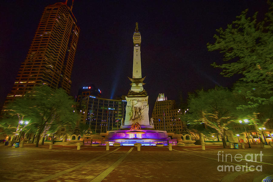 Indianapolis Photograph - Monument Circle Indianapolis Digital Oil Paint by David Haskett