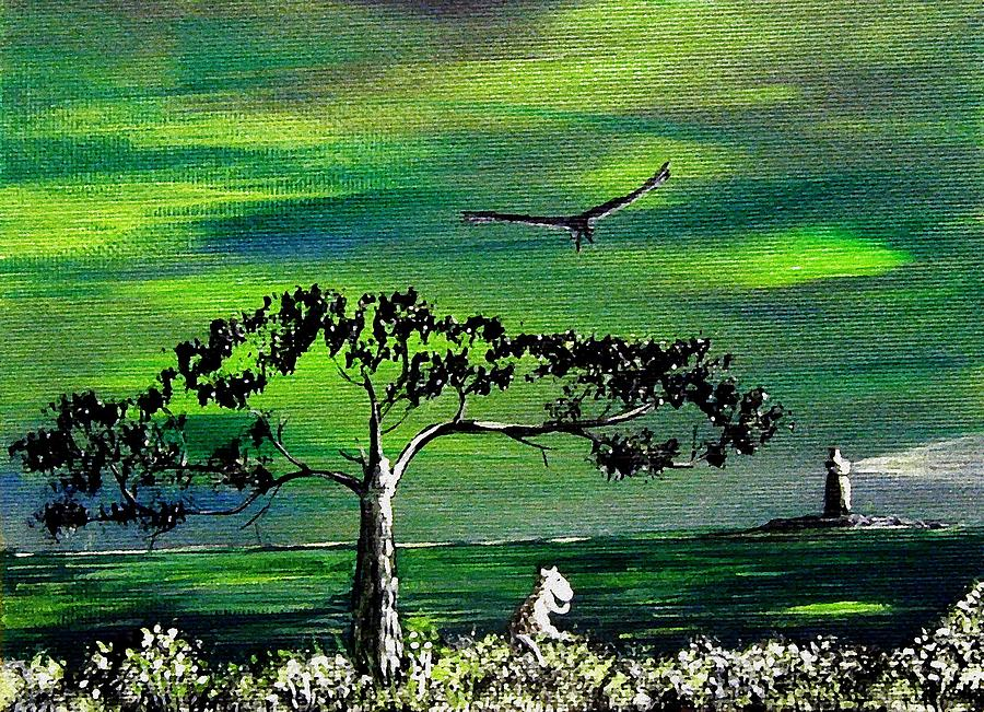 Moomintroll And Lighthouse Painting  - Moomintroll And Lighthouse Fine Art Print