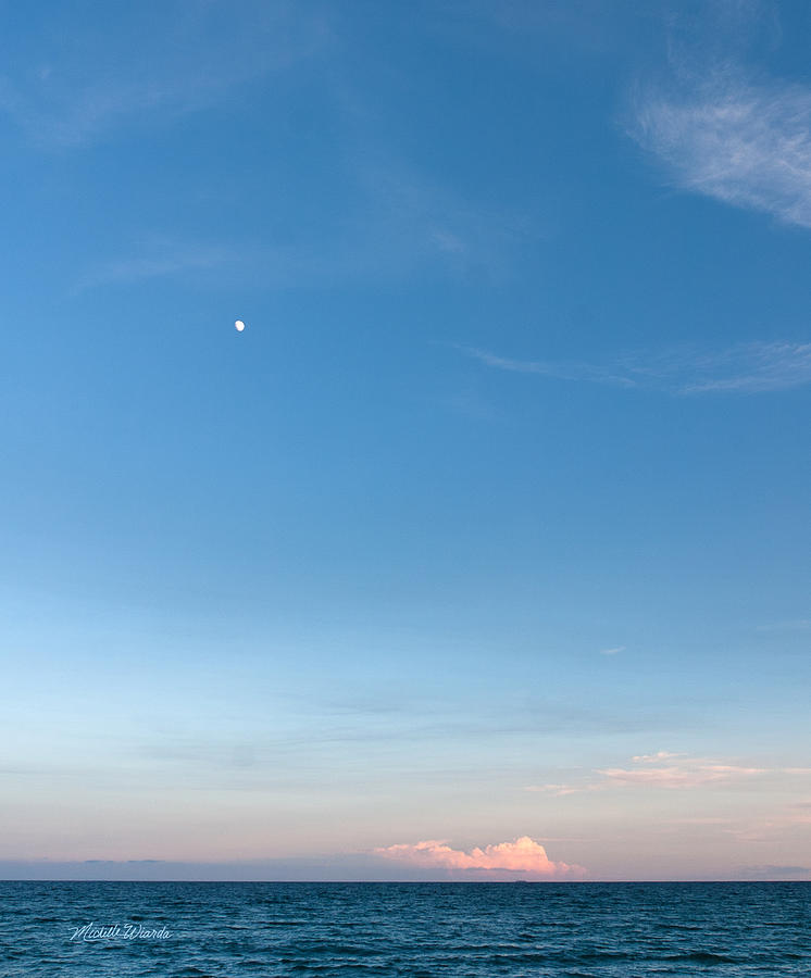 Moon And Pink Cloud Photograph