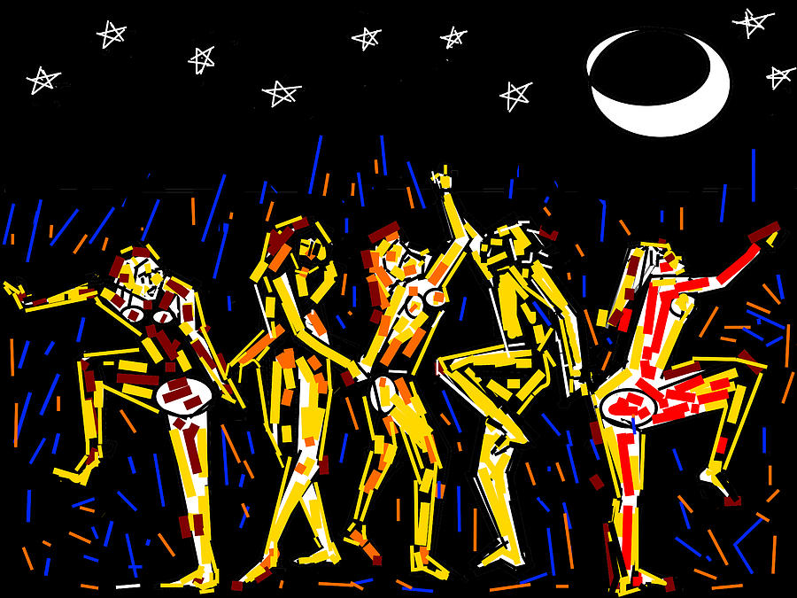 Moon And The Dancers Digital Art