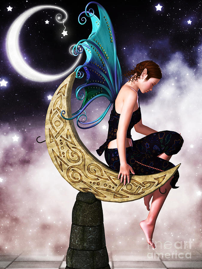 Moon Fairy Digital Art  - Moon Fairy Fine Art Print