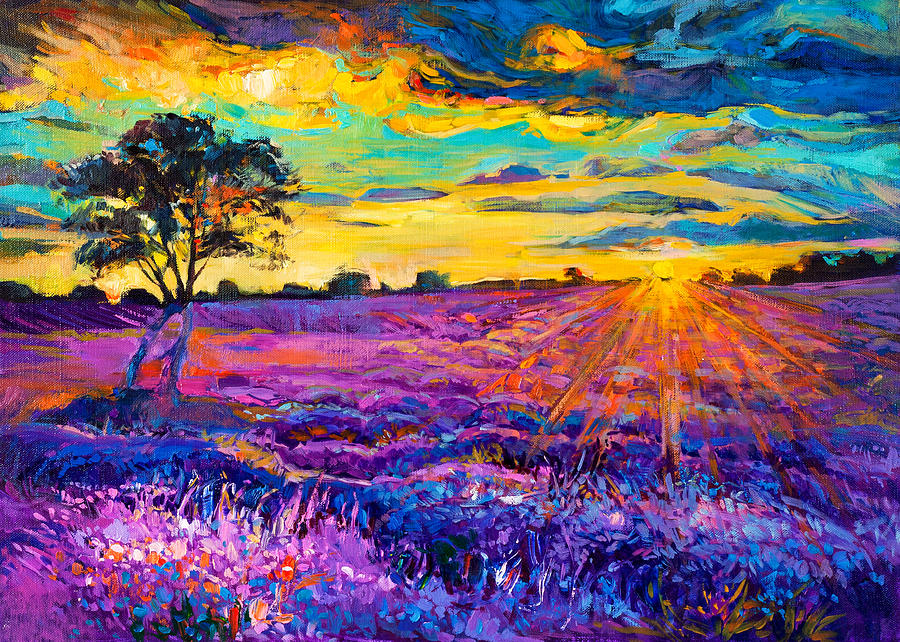 Abstract Painting - Lavender Field by Ivailo Nikolov