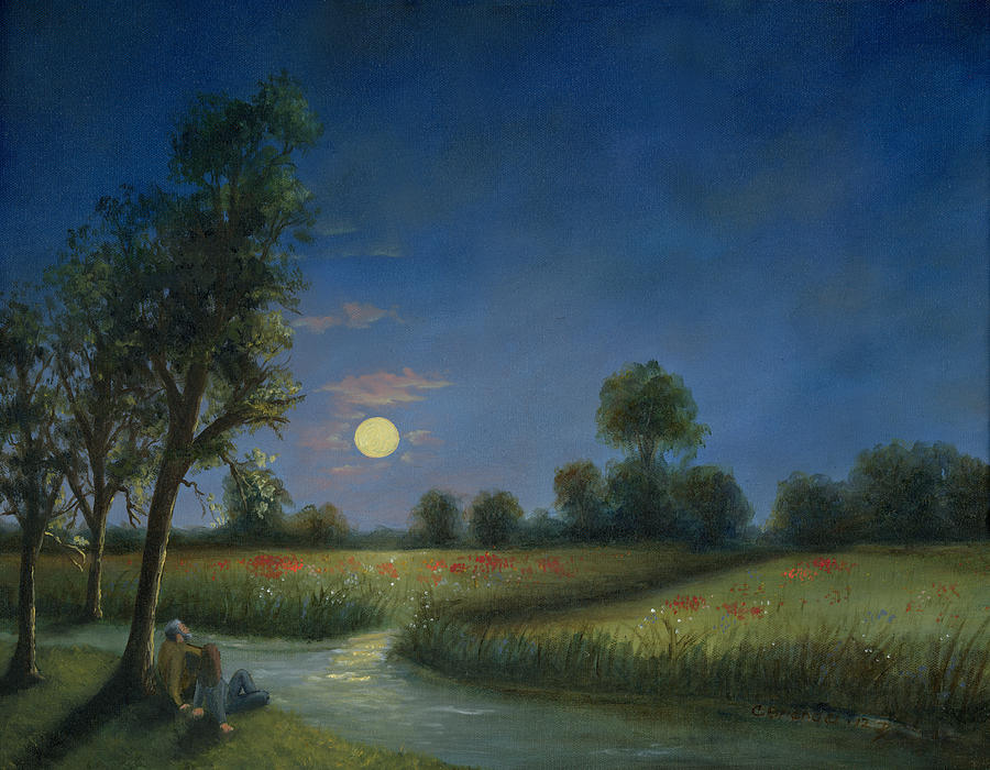 Moon Light Poppies In Argenteuil  Painting