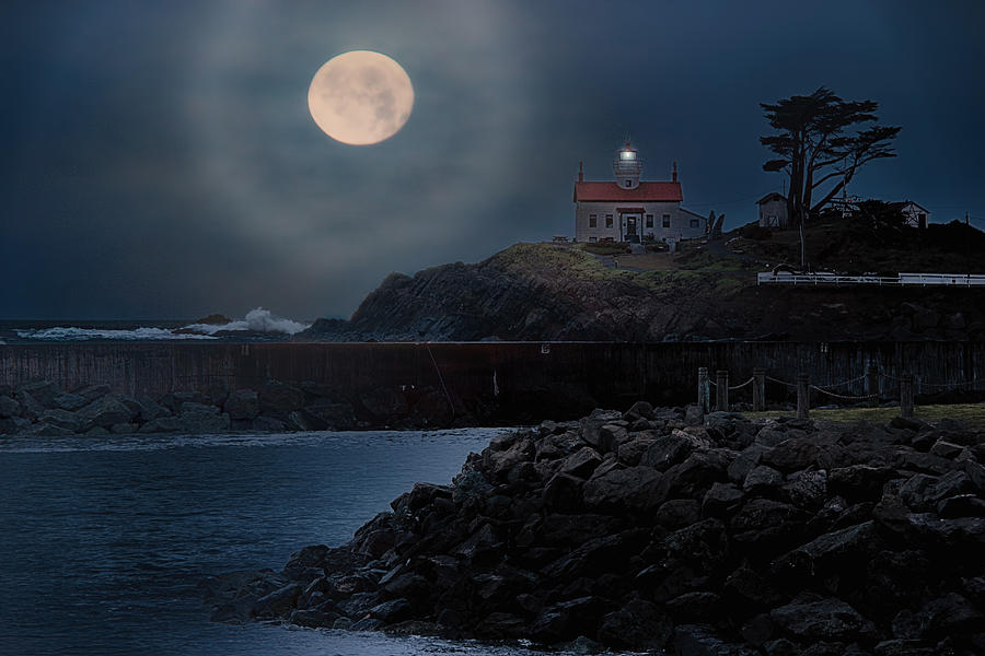 Moon Over Battery Point Photograph