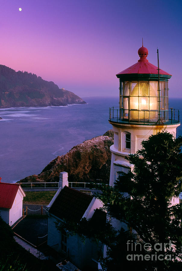 Moon Over Heceta Head Photograph