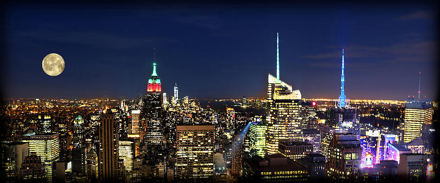 Moon Over Manhattan At Twilight Photograph  - Moon Over Manhattan At Twilight Fine Art Print