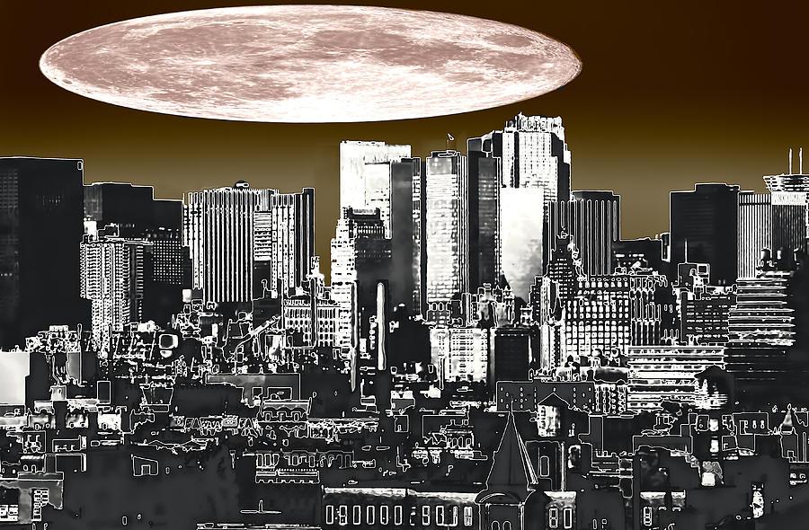 Moon Over Manhattan Photograph