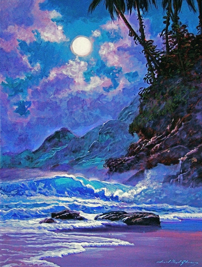 Hawaii Painting - Moon Over Maui by David Lloyd Glover