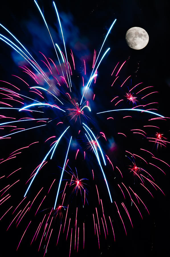 Moon Over Red White And Blue Starburst- July Fourth - Fireworks Photograph
