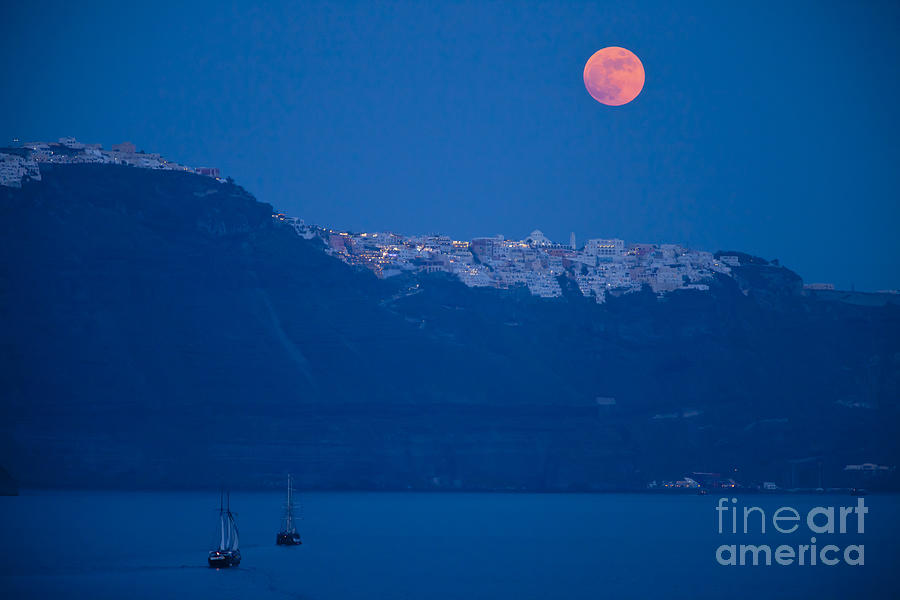 Moon Over Santorini Photograph