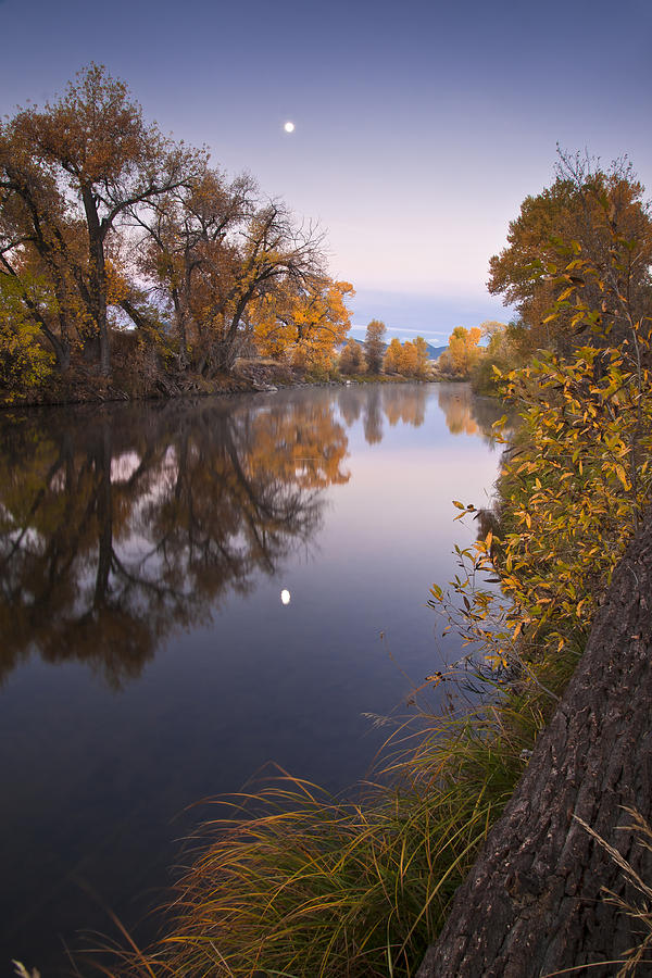 River Photograph - Moon Over The Poudre by Michael Van Beber
