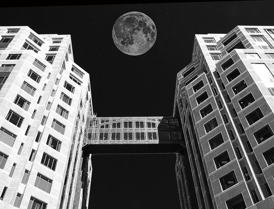 Moon Over Twin Towers Photograph