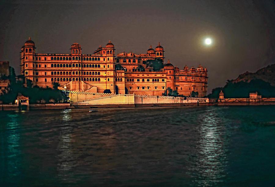 India Photograph - Moon Over Udaipur by Steve Harrington