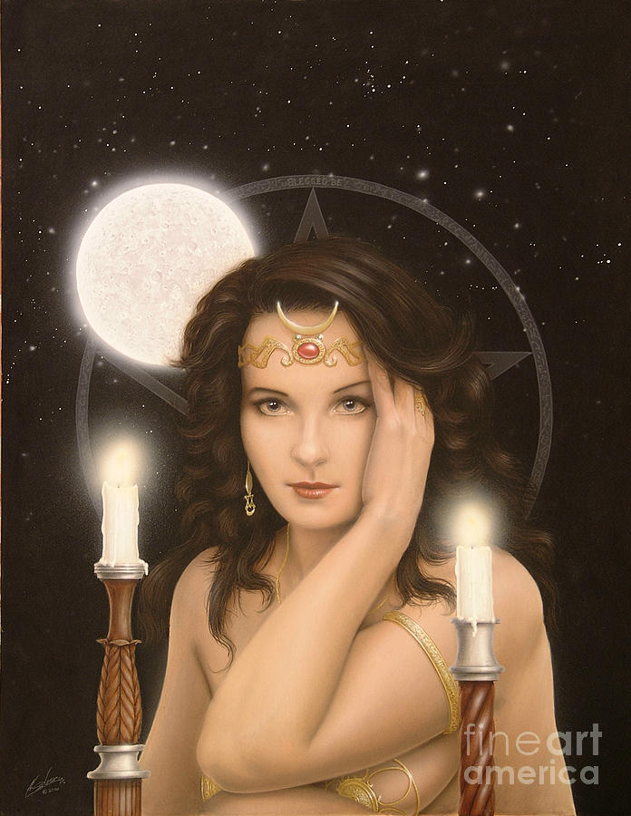 Paintings Painting - Moon Priestess by John Silver