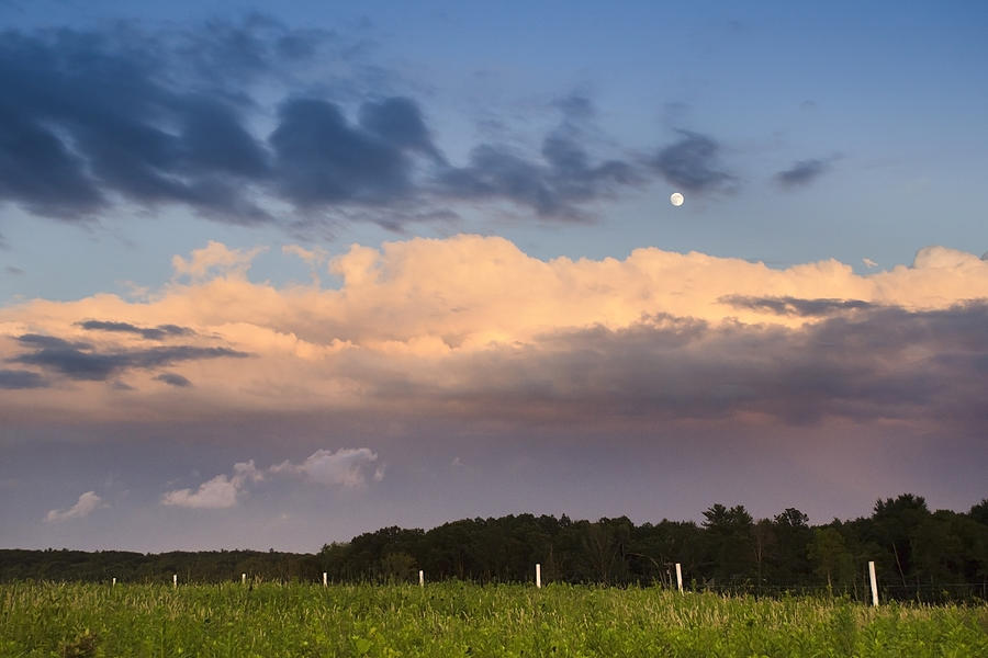 Moon Rise Over Country Fields Sunset Landscape Photograph
