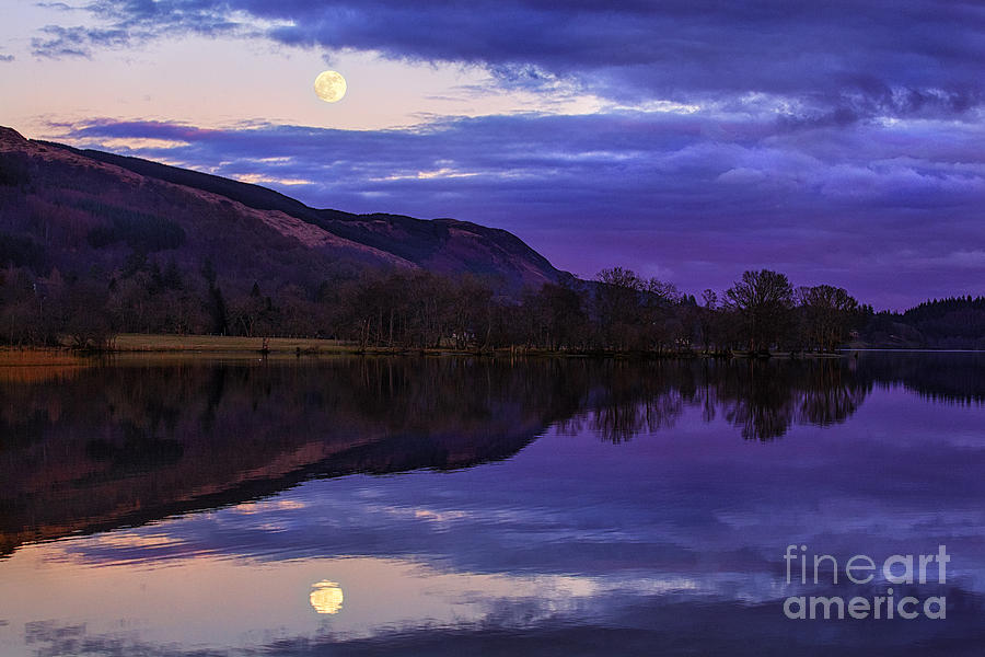 Moon Rising Over Loch Ard Photograph  - Moon Rising Over Loch Ard Fine Art Print