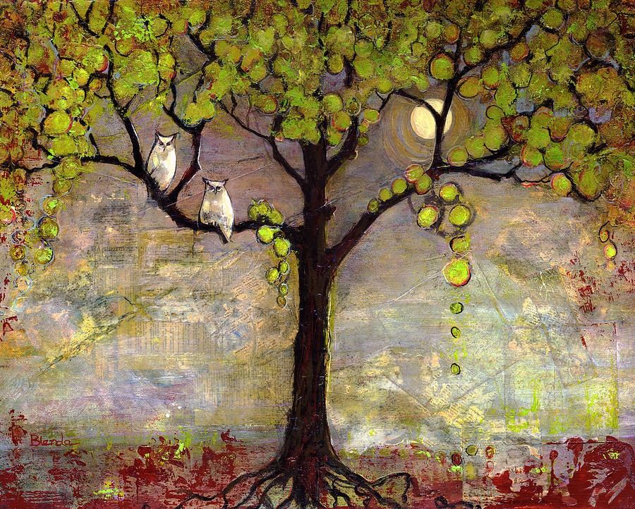Moon River Tree Owls Art Painting  - Moon River Tree Owls Art Fine Art Print
