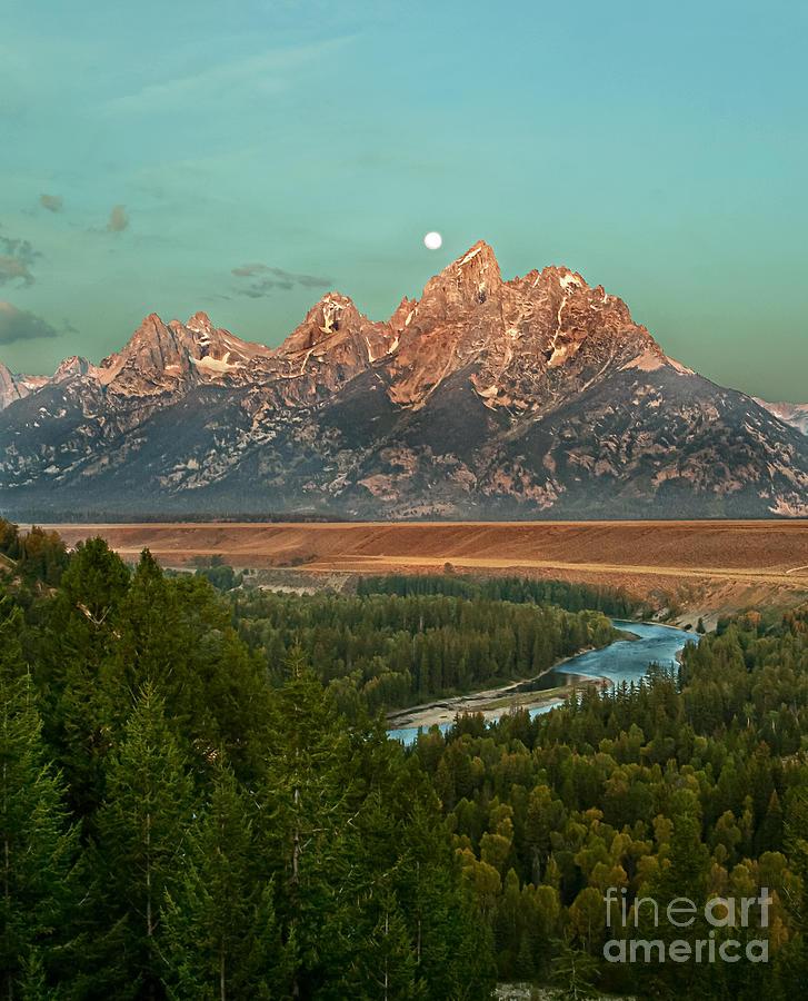 Grand Teton Photograph - Moon Setting by Robert Bales