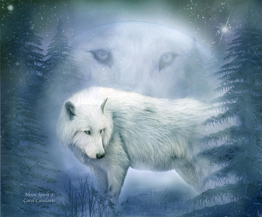 Moon Spirit 2 - White Wolf - Blue Mixed Media  - Moon Spirit 2 - White Wolf - Blue Fine Art Print