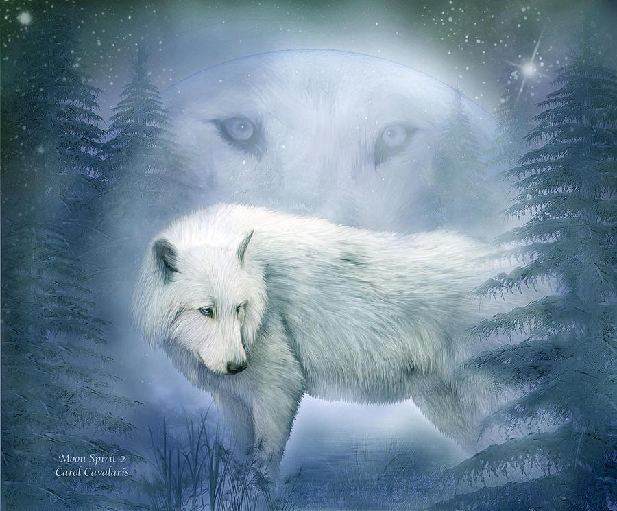 Moon Spirit 2 - White Wolf - Blue Mixed Media