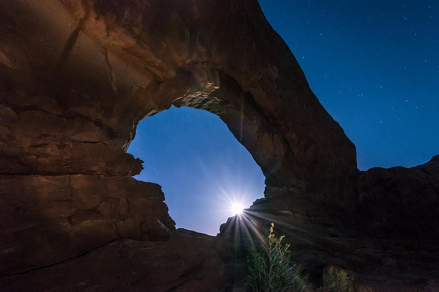 Moon Through Arches Windows Photograph