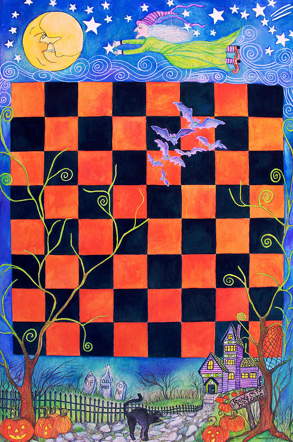 Halloween Painting - Flight Of The Moon Witch Checkerboard by Janet Immordino