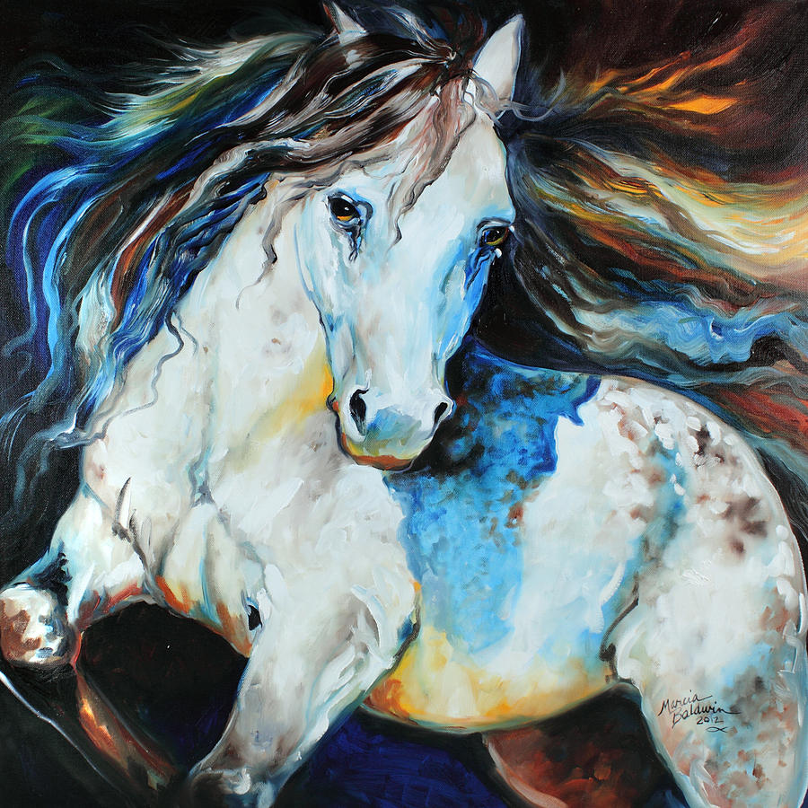 Moonlight Appaloosa Painting  - Moonlight Appaloosa Fine Art Print