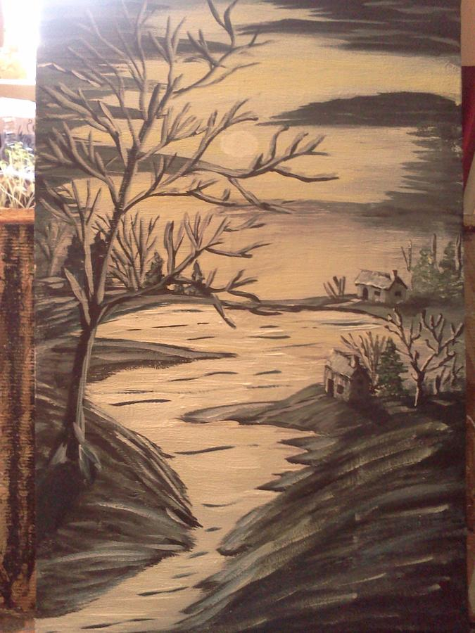 Landscape With Water Moon 2 Houses And Trees Painting - Moonlight  Blue by Renee McKnight