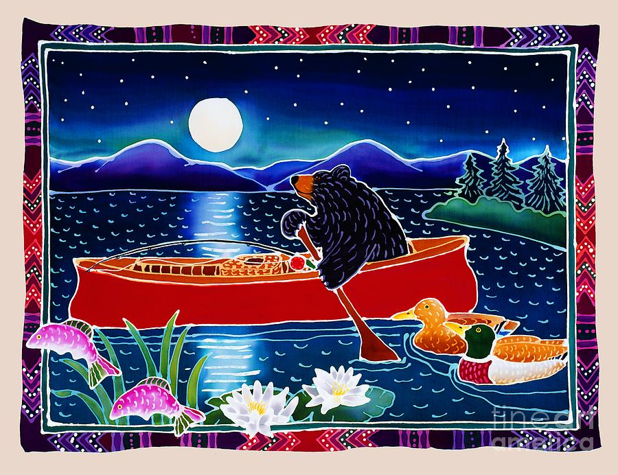 Moonlight On A Red Canoe Painting