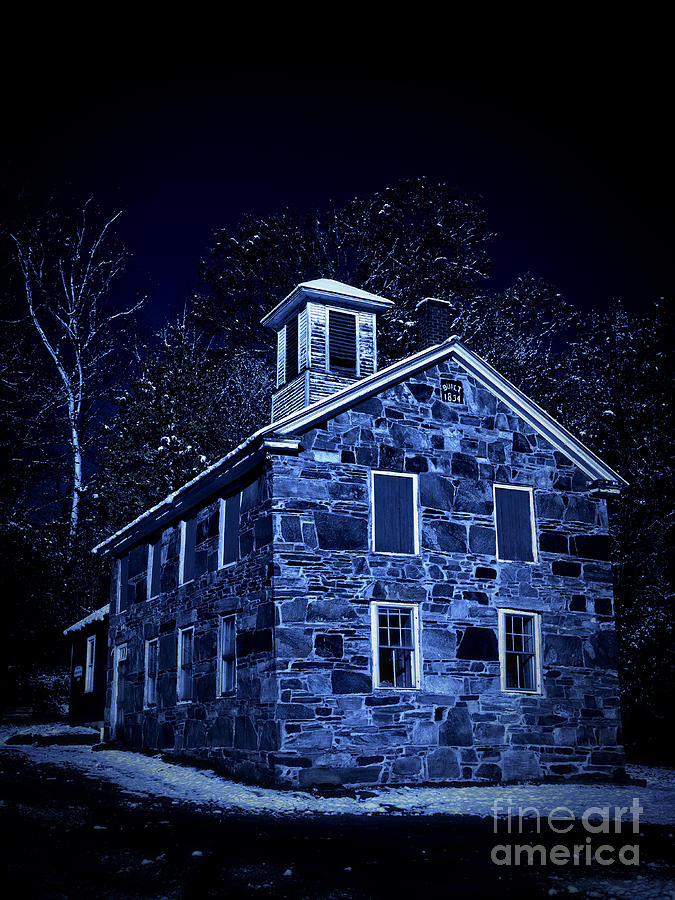 Moonlight On The Old Stone Building  Photograph
