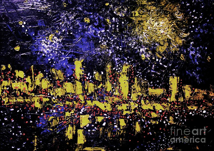 Moonlight Over City Digital Art