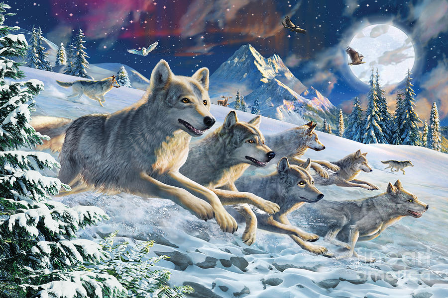 Moonlight Wolfpack Digital Art