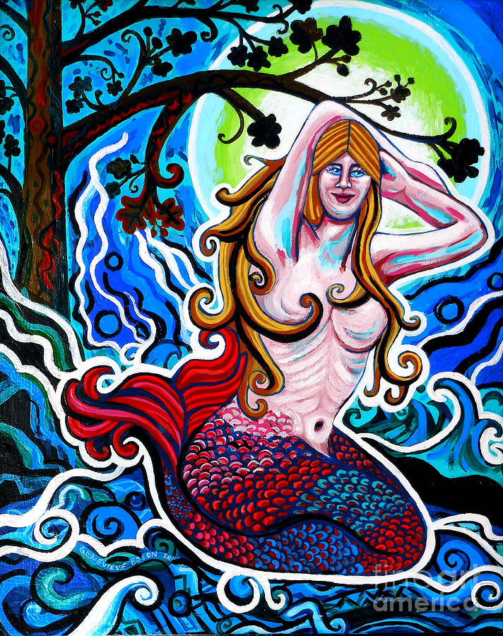 Moonlit Mermaid Painting  - Moonlit Mermaid Fine Art Print