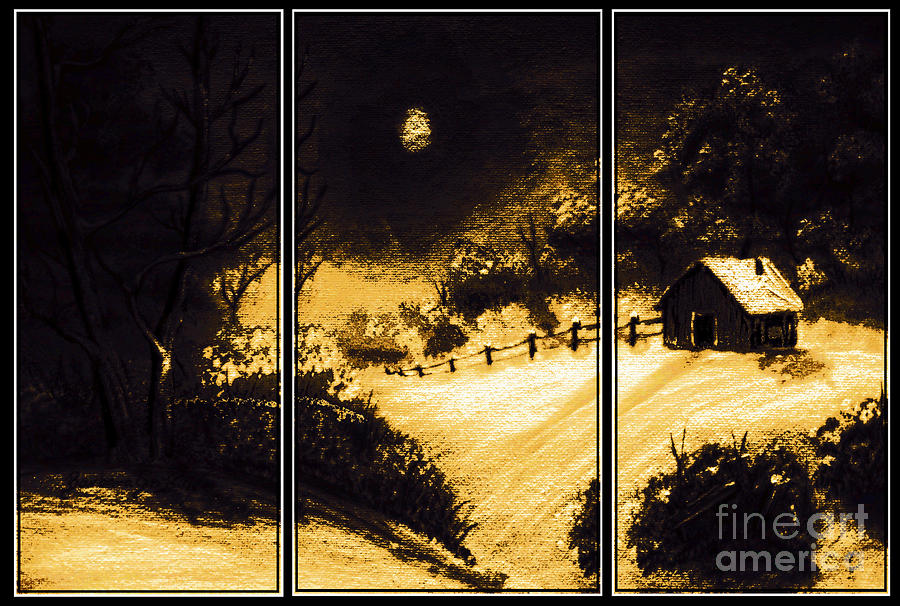 Moonlit Night Triptych Painting