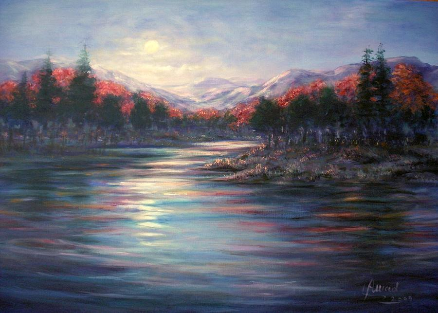 Moonrise On The Lake Painting