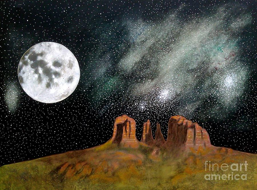 Moonrise Over Sedona Painting  - Moonrise Over Sedona Fine Art Print