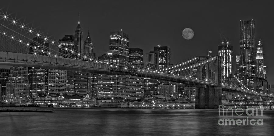 Moonrise Over The Brooklyn Bridge Bw Photograph