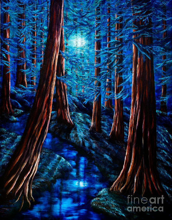 Moonrise Over The Los Altos Redwood Grove Painting