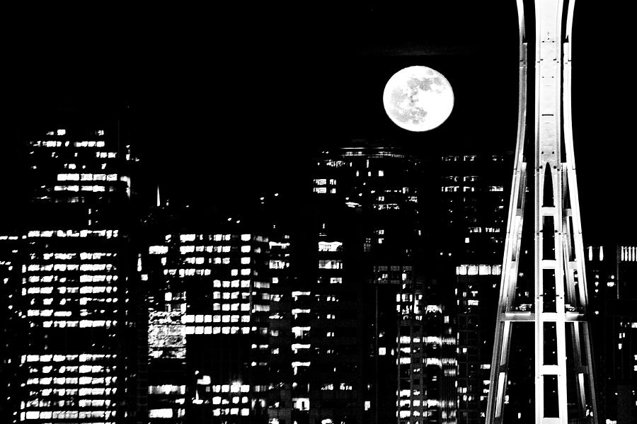 Moonrise Seattle Photograph  - Moonrise Seattle Fine Art Print